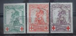 BELGIE  1914     Nr. 126 - 128     'gesloten Q'     Gestempeld     CW  85,00 - 1914-1915 Rotes Kreuz