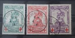 BELGIE  1914     Nr. 126 - 128  (2)   'open Q'     Gestempeld     CW  80,00 - 1914-1915 Rotes Kreuz