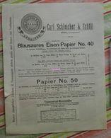 Papier Carl Schleicher Und Schüll, Düren Rheinland - Blausaures Eisen Papier N°40 - 1885 - Imprimerie & Papeterie