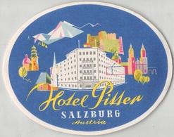 "D7874 ""  HOTEL PILSTER - SALZBURG - AUSTRIA"" ETICHETTA ORIGINALE - ORIGINAL LABEL - Adesivi Di Alberghi"