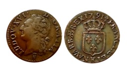 LOUIS XVI 1/2 Sol 1791 K (Bordeaux) GADOURY  R1 - 987-1789 Monnaies Royales