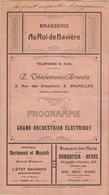 Brasserie Au Roi De Bavière Thielemans Arnoets Programme Du Grand Orchestrion électrique Orchestre Piano Mécanique - Programmes