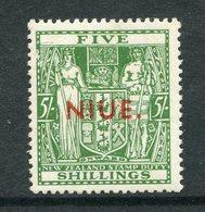 Niue 1941-67 New Zealand Overprints - Arms Type Postage Revenues - Mult. Wmk. - 5/- Green MNH (SG 84) - Niue