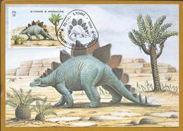 Stegosaurus.Jurassic Period.Dinosaurs.Triple Maximum Postcard.S. Tome And Principe.Jurazeit.Dinosaurier.Estegossaurus - Preistoria