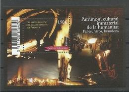 ANDORRA CORREO FRANCES  H.B. PATRIMONI CULTURAL. (C.S.C.06.18) - Hojas Bloque