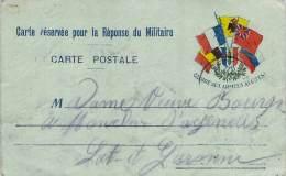 Militaria - Franchise Militaire, WW1 1914, Bouquet De Drapeaux Alliés, Gloire Aux Armées Alliées R.F. - Marcophilie (Lettres)