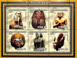 D- [37796] **/Mnh-Mozambique 2002 - Célébrité, Rois - Netjenkhet Djoser, Tutankhamun, Neferefre, Amenhotep III, Pepi I,  - Célébrités