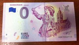 59 DUNKERQUE JEN BART BILLET ZERO EURO SOUVENIR 2018 BANKNOTE BANK NOTE EURO SCHEIN PAPER MONEY - EURO