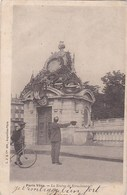 PARIS VECU Homme Saluant La STATUE De STRASBOURG PLACE De La CONCORDE Aux TUILERIES 1905 SCAN DOS - Artigianato Di Parigi