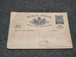 """RARE ANTIQUE PORTUGAL """" MONARQUIA DO NORTE""""  STATIONERY CARD 20 REIS BLUE UNUSED - Enteros Postales"""
