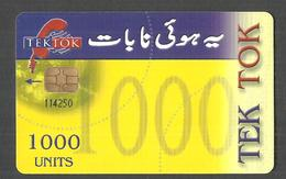 PAKISTAN USED CHIP PHONECARD TEK TOK 1000 UNITS - Pakistan