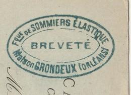 Carte Commerciale / Entier 1898 / GRONDEUX / Fabrique Sommiers Elastique (s) / 45 Orléans - Maps