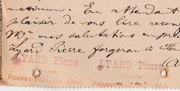 Carte Lettre 1908 / Entier  / LYARD Pierre / Forgeron / 01 Ferney Voltaire / Ain - Maps