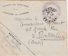 Enveloppe 1919 / Cercle Officiers Garnison / 87 Limoges / Cachet Réunion Des Officiers - Dokumente
