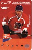 Czech Republic, Eurotel - Go Coupon 500 Kč, In Year 2006 Renamed To Telefonica O2, Hockey - Hamrlik - Czech Republic