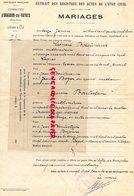 87 - ORADOUR SUR VAYRES- EXTRAIT REGISTRES ETAT CIVIL-MARIAGE LEONARD BOUTINAUD VAYRES- JEANNE BOULESTEIX LA POUGE-1941 - Documents Historiques