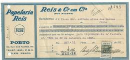 Receipt * Portugal * 1935 * Porto * Papelaria Reis * Holed - Portugal