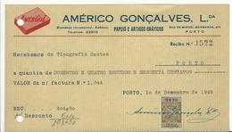 Receipt * Portugal * 1949 * Porto * Amérgol * Américo Gonçalves, Lda * Papeis E Artigos Gráficos * Holed - Portugal