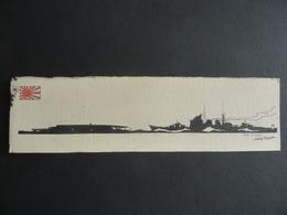 DESSIN Silhouette Encre De Chine  Marine Anglaise  / J. DALLOZ - Porte-avions AKAGI &  Croiseur Lourd CHOKAÏ - Bateaux