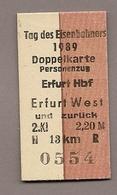 Pappfahrkarte Deutsche Reichsbahn -->  Erfurt Hbf - Erfurt West - Tag Des Eisenbahners 89 - Europa