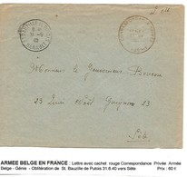 BELGIQUE Armée Belge En FRANCE L. Génie St Bauzille De Putois 31.6.1940 > Bovesse Sète - Lettres
