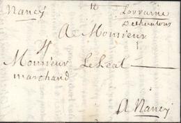 1722 De Chaalons Manuscrit Chalons Sur Marne Lenain 1 A Pour Nancy Taxe Manuscrite 4 Marne 51 I16 Soit 170 Euros - Marcophilie (Lettres)