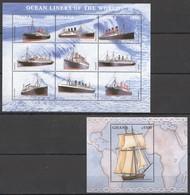 D175 GHANA TRANSPORTATION SHIPS & BOATS OCEAN LINERS OF THE WORLD 1KB+1BL MNH - Schiffe