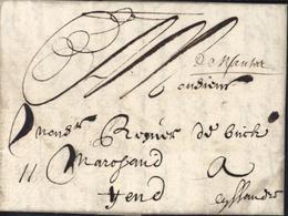 1698 De Nantes Manuscrit Lenain N°1 Lettre Pour Gand Belgique Taxe Manuscrite 11 Marque XVIII Rare 44 Loire Atlantique - Postmark Collection (Covers)