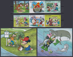 GAMBIA 1996 - Disney Volunteers - Mi 2322-7 + B282-3; CV=29 € - Disney
