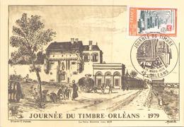 """Carte Maximum Du 10 Mars 1979 à Orléans, """" Journée Du Timbre """" - Marcophilie (Lettres)"""