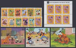GAMBIA 1994 - Disney Dogs - Mi 1819-30 + B220-2; CV=50 € - Disney