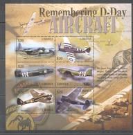 D198 LIBERIA AVIATION HISTORY WAR REMEMBERING D-DAY AIRCRAFT 1KB MNH - Flugzeuge
