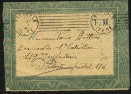 Pli De Franchise Militaire De La Guerre De 1914-18 Oblt Flamme De GRENOBLE - Marcophilie (Lettres)