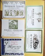 1996-1997-BOURGOGNE  5 ETIQUETTE NEUVES -POUILLY-ALIGOTE-VINZELLES-MERCURY - Bourgogne
