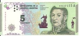 ARGENTINE 5 PESOS ND2015 UNC P 359 - Argentina