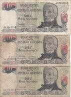 ARGENTINE 10 PESOS ARGENTINOS ND1983-84 VG+ P 313 ( 3 Billets) - Argentina