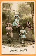 Oct037, Bonne Année, Belle Fantaisie, âne Avec 3 Petites Filles, Circé, 4168 ,circulée Sous Enveloppe - Ezels