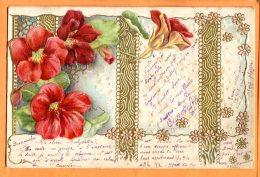 Oct046, Fleur, Relief, Précurseur, Circulée 1903 - Fleurs