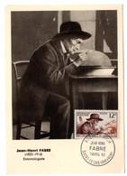 CARTE MAXIMUM FRANCE 1956 / 12 SAINT LEONS   = CACHET  FDC  PREMIER JOUR N° 1055 'FABRE ENTOMOLOGISTE ' - Maximumkarten