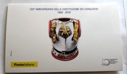 ITALIA 2018, FOGLIETTO ERINNOFILO 150 ANNI DELL'ISTITUZIONE DEI CORAZZIERI - Polizia
