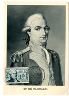 CARTE MAXIMUM FRANCE 1955 / 30 SAUVE   = CACHET  FDC  PREMIER JOUR N° 1021 'FLORIAN / FABULISTE ' - Cartes-Maximum