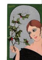 Illustrateur  CHIOST RI. Casa Editrice BALLERINI & FRATINI. Femme Tenant Une Branche De Houx. BONNE ANNEE En Relief. Sca - Künstlerkarten