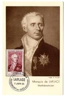 CARTE MAXIMUM FRANCE 1955 / 14 BEAUMONT En AUGE   = CACHET PREMIER JOUR N° 1031 'MARQUIS DE LAPLACE / MATHEMATICIEN ' - Maximum Cards