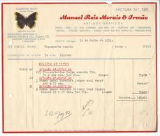 Invoice * Portugal * 1935 * Porto * Manuel Reis Morais & Irmão * Artigos Gráficos * Holed - Portugal