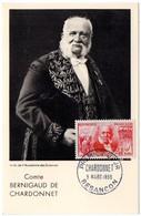 CARTE MAXIMUM FRANCE 1955 / 25 BESANCON   = CACHET  FDC  PREMIER JOUR N° 1017 'CHARDONNET / TEXTILE / SOIE' - Cartes-Maximum