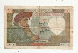 Billet , 50 Francs , 50 , JACQUES COEUR , 5-9-1940 , 2 Scans - 1871-1952 Anciens Francs Circulés Au XXème