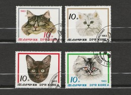 Corée - Lot De 4 Timbres De Chat - 1983 - Domestic Cats