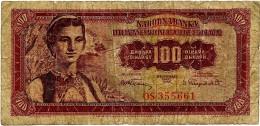 YUGOSLAVIA - 100 Dinara - 01/05/1955 - P 69 - Used - Woman / Dubrovnik - Yougoslavie
