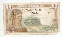 Billet , 50 Francs , 50 , CERES , 7-5-1936 , 2 Scans - 1871-1952 Gedurende De XXste In Omloop