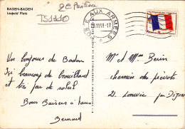 "CP "" Baden-Baden, Leopold Platz"" Circ 1968, Timbre Franchise Militaire ""Drapeau Français"" & Cachet ""Poste Aux Armées - Military Postmarks From 1900 (out Of Wars Periods)"